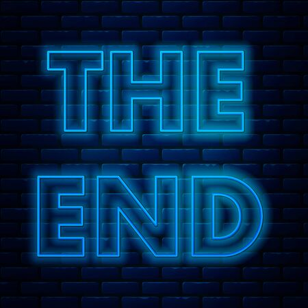 Glowing neon line The End handwritten inscription icon isolated on brick wall background. Closing movie frame. Movie ending screen. Vector Illustration Illustration