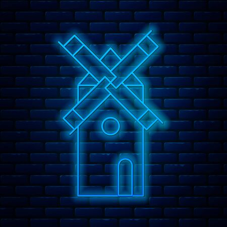 Glowing neon line Windmill icon isolated on brick wall background. Vector Illustration