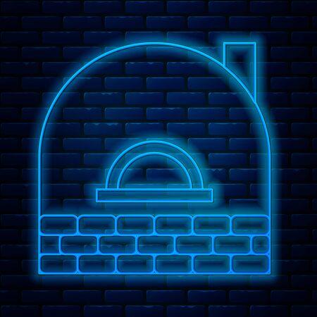 Glowing neon line Brick stove icon isolated on brick wall background. Brick fireplace, masonry stove, stone oven icon. Vector Illustration