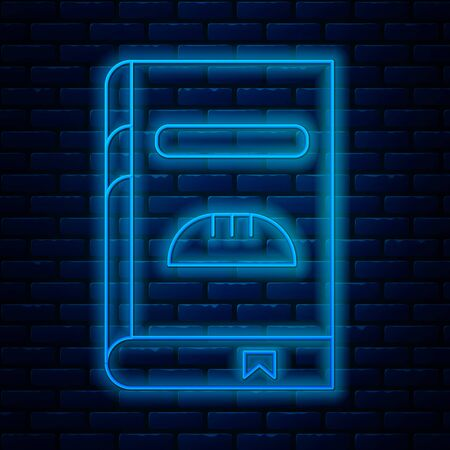 Glowing neon line Cookbook icon isolated on brick wall background. Cooking book icon. Recipe book. Fork and knife icons. Cutlery symbol. Vector Illustration