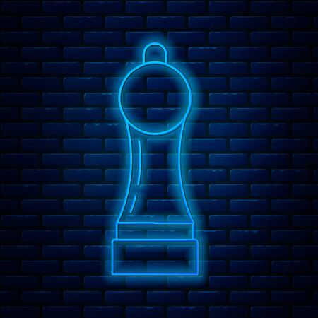 Glowing neon line Pepper icon isolated on brick wall background. Cooking spices. Vector Illustration Vettoriali