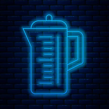 Glowing neon line Teapot icon isolated on brick wall background. Vector Illustration  イラスト・ベクター素材