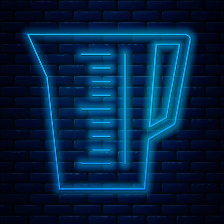 Glowing neon line Measuring cup to measure dry and liquid food icon isolated on brick wall background. Plastic graduated beaker with handle. Vector Illustration