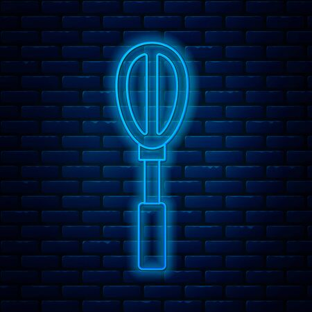 Glowing neon line Kitchen whisk icon isolated on brick wall background. Cooking utensil, egg beater. Cutlery sign. Food mix symbol. Vector Illustration