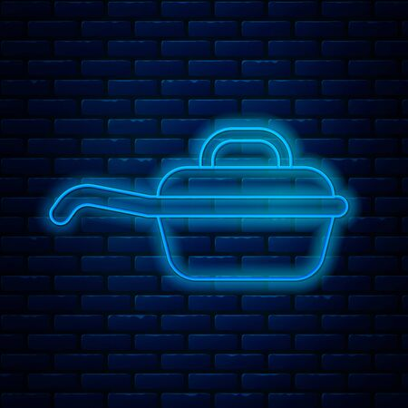 Glowing neon line Frying pan icon isolated on brick wall background. Fry or roast food symbol. Vector Illustration
