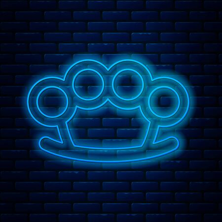 Glowing neon line Brass knuckles icon isolated on brick wall background. Vector Illustration Vettoriali