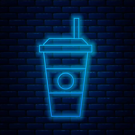 Glowing neon line Coffee cup icon isolated on brick wall background. Disposable coffee cup with hot coffee. Vector Illustration