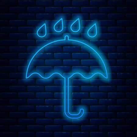 Glowing neon line Umbrella and rain drops icon isolated on brick wall background. Waterproof icon. Protection, safety, security concept. Water resistant symbol. Vector Illustration