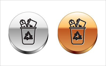 Black line Recycle bin with recycle symbol icon isolated on white background. Trash can icon. Garbage bin sign. Recycle basket sign. Silver-gold circle button. Vector Illustration