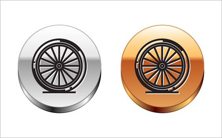 Black line Bicycle wheel icon isolated on white background. Bike race. Extreme sport. Sport equipment. Silver-gold circle button. Vector Illustration