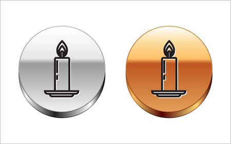 Black line Burning candle in candlestick icon isolated on white background. Old fashioned lit candle. Cylindrical candle stick with burning flame. Silver-gold circle button. Vector Illustration