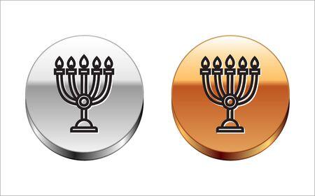 Black line Hanukkah menorah icon isolated on white background. Hanukkah traditional symbol. Holiday religion, jewish festival of Lights. Silver-gold circle button. Vector Illustration