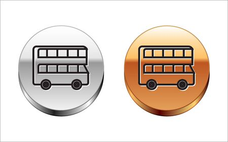 Black line Double decker bus icon isolated on white background. London classic passenger bus. Public transportation symbol. Silver-gold circle button. Vector Illustration