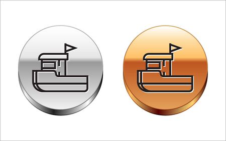 Black line Fishing boat icon isolated on white background. Silver-gold circle button. Vector Illustration