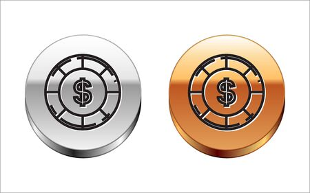 Black line Casino chip with dollar symbol icon isolated on white background. Casino gambling. Silver-gold circle button. Vector Illustration