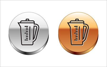 Black line Measuring cup to measure dry and liquid food icon isolated on white background. Plastic graduated beaker with handle. Silver-gold circle button. Vector Illustration