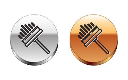 Black line Cleaning service with of rubber cleaner for windows icon isolated on white background. Squeegee, scraper, wiper. Silver-gold circle button. Vector Illustration
