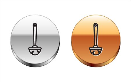 Black line Toilet brush icon isolated on white background. Silver-gold circle button. Vector Illustration