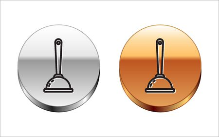 Black line Rubber plunger with wooden handle for pipe cleaning icon isolated on white background. Toilet plunger. Silver-gold circle button. Vector Illustration