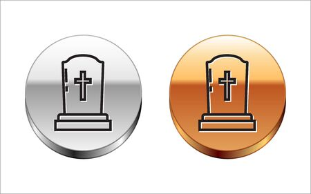 Black line Tombstone with cross icon isolated on white background. Grave icon. Silver-gold circle button. Vector Illustration