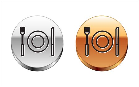 Black line Plate, fork and knife icon isolated on white background. Cutlery symbol. Restaurant sign. Silver-gold circle button. Vector Illustration Illustration