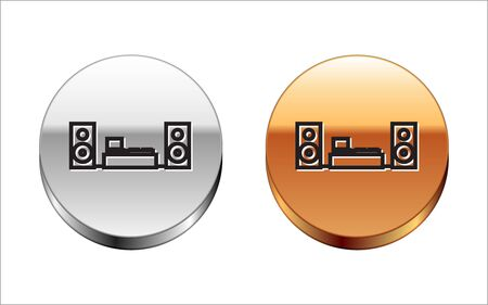 Black line Home stereo with two speaker s icon isolated on white background. Music system. Silver-gold circle button. Vector Illustration