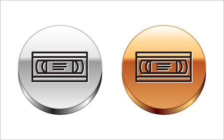 Black line VHS video cassette tape icon isolated on white background. Silver-gold circle button. Vector Illustration
