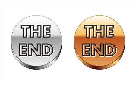 Black line The End handwritten inscription icon isolated on white background. Closing movie frame. Movie ending screen. Silver-gold circle button. Vector Illustration