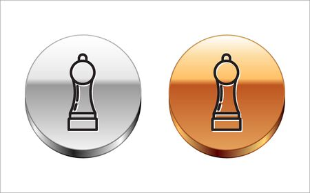 Black line Pepper icon isolated on white background. Cooking spices. Silver-gold circle button. Vector Illustration