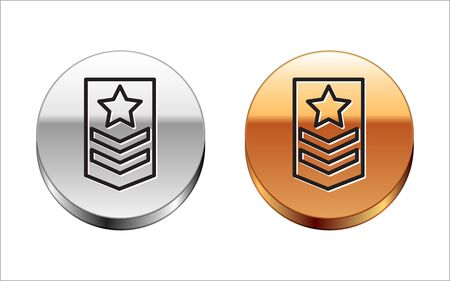 Black line Chevron icon isolated on white background. Military badge sign. Silver-gold circle button. Vector Illustration