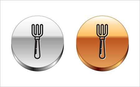 Black line Fork icon isolated on white background. Cutlery symbol. Silver-gold circle button. Vector Illustration