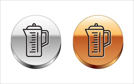 Black line Teapot icon isolated on white background. Silver-gold circle button. Vector Illustration  イラスト・ベクター素材