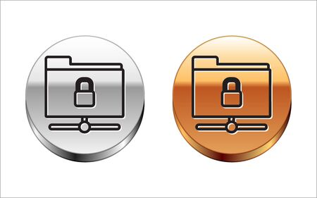 Black line FTP folder and lock icon isolated on white background. Concept of software update. Security, safety, protection concept. Silver-gold circle button. Vector Illustration Illusztráció
