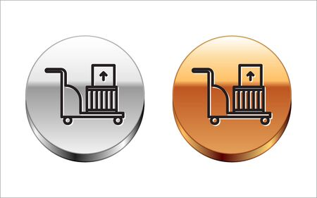 Black line Electric hand truck and boxes icon isolated on white background. Dolly symbol. Stock Illustratie