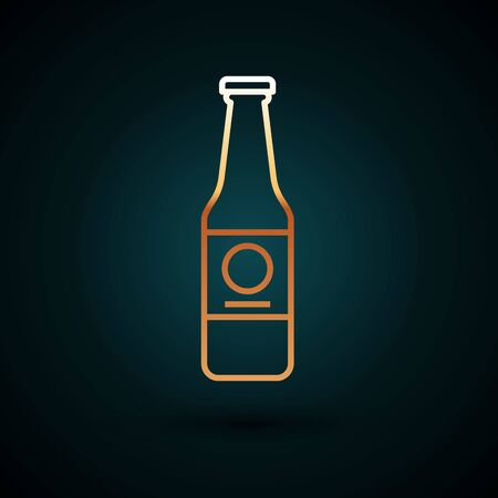 Gold line Beer bottle icon isolated on dark blue background. Vector Illustration