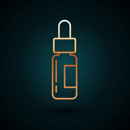 Gold line Glass bottle with a pipette. Vial with a pipette inside icon isolated on dark blue background. Container for medical and cosmetic product.  Vector Illustration