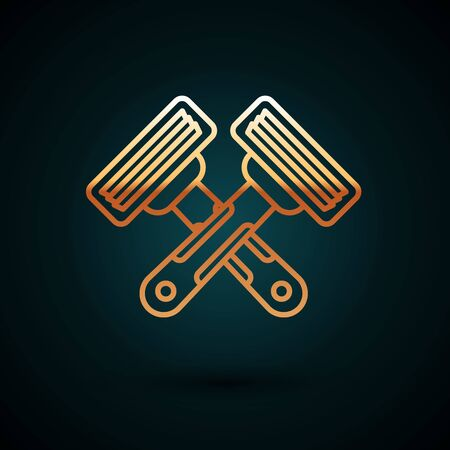 Gold line Crossed shaving razor icon isolated on dark blue background. Vector Illustration