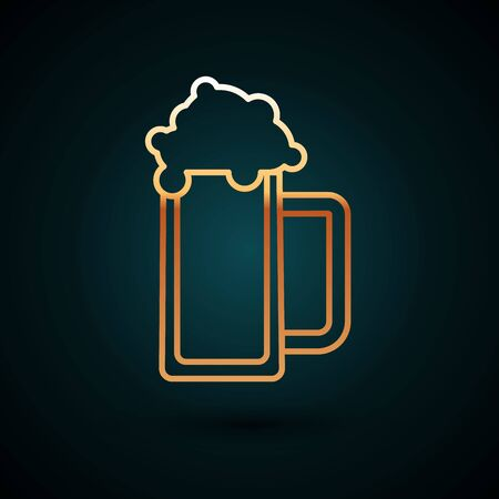 Gold line Glass of beer icon isolated on dark blue background. Vector Illustration
