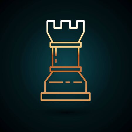 Gold line Business strategy icon isolated on dark blue background. Chess symbol. Game, management, finance. Vector Illustration