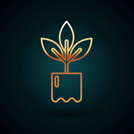 Gold line Plant in bottle icon isolated on dark blue background. Seed and seedling. Leaves sign. Leaf nature. Vector Illustration