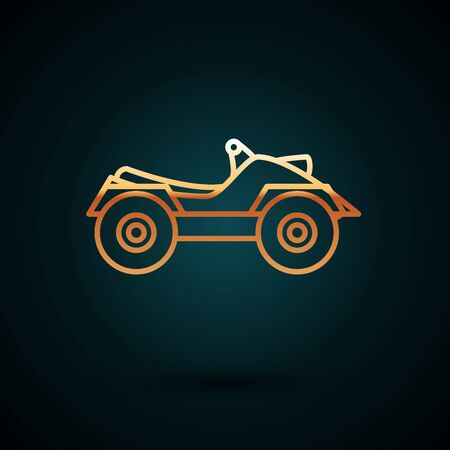 Gold line All Terrain Vehicle or ATV motorcycle icon isolated on dark blue background. Quad bike. Extreme sport. Vector Illustration