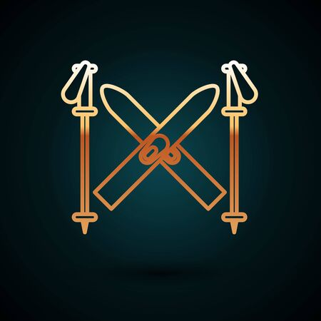 Gold line Ski and sticks icon isolated on dark blue background. Extreme sport. Skiing equipment. Winter sports icon. Vector Illustration