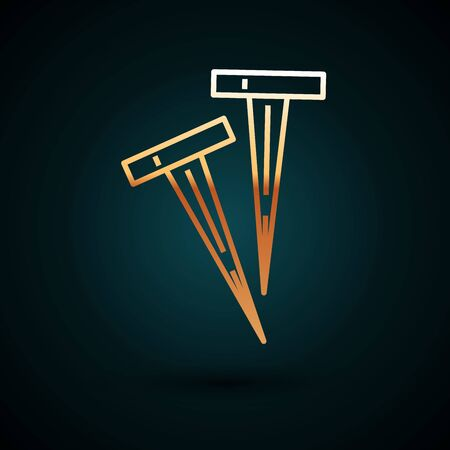 Gold line Pegs for tents icon isolated on dark blue background. Extreme sport. Sport equipment. Vector Illustration