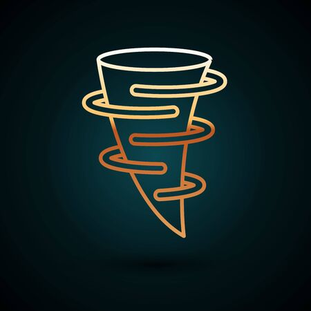Gold line Tornado icon isolated on dark blue background. Vector Illustration