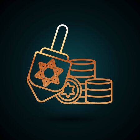 Gold line Hanukkah dreidel and coin icon isolated on dark blue background. Vector Illustration
