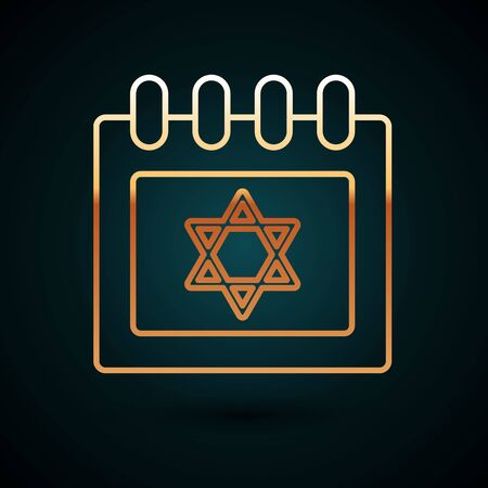 Gold line Jewish calendar with star of david icon isolated on dark blue background. Hanukkah calendar day. Vector Illustration
