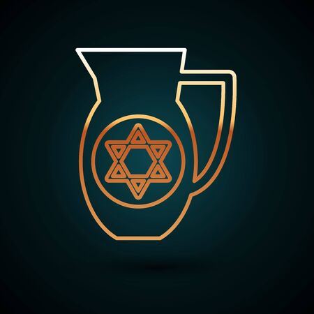 Gold line Decanter with star of david icon isolated on dark blue background. Pottery jug. Organic product in carafe. Vector Illustration
