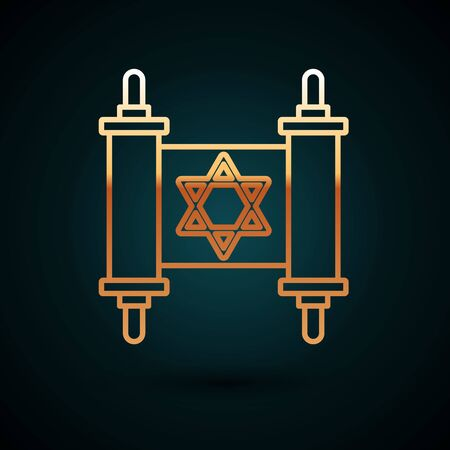 Gold line Torah scroll icon isolated on dark blue background. Jewish Torah in expanded form. Star of David symbol. Old parchment scroll. Vector Illustration
