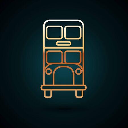 Gold line Double decker bus icon isolated on dark blue background. London classic passenger bus. Public transportation symbol. Vector Illustration