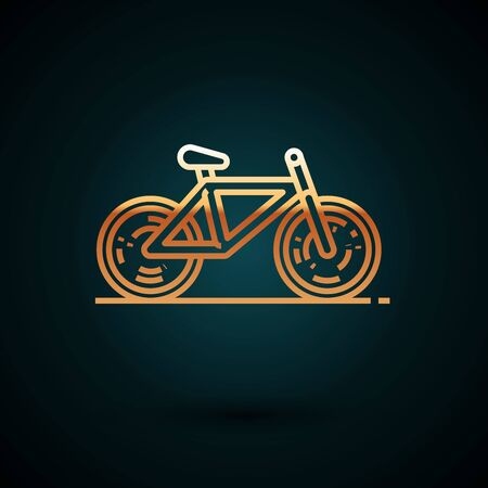 Gold line Bicycle icon isolated on dark blue background. Bike race. Extreme sport. Sport equipment. Vector Illustration